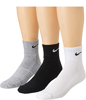 Nike - Cotton Cushion Quarter with Moisture Management 3-Pair Pack