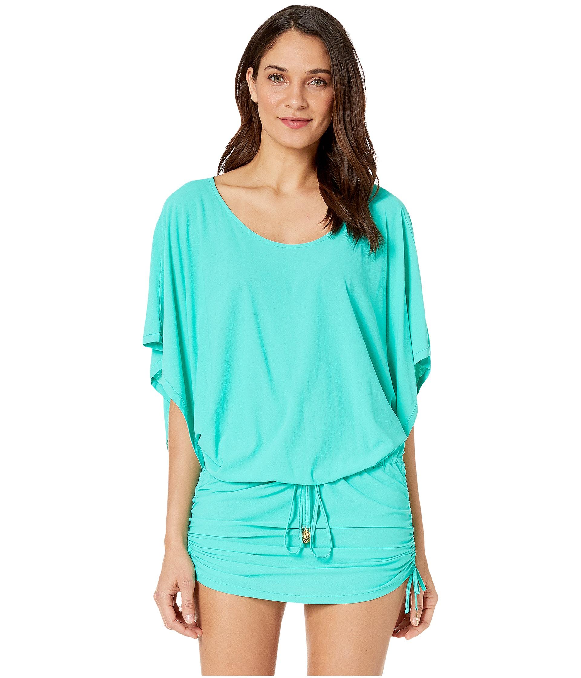 Tommy Bahama Ocean Swirl Long Maxi Dress Cover Up Parakeet Green Surf Blue