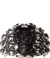 King Baby Studio - Rainbow Obsidian Carved Skull in Silver Skull Frame