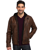 Calvin Klein - Faux Leather Bomber Jacket w/ Knit Hood CM499139