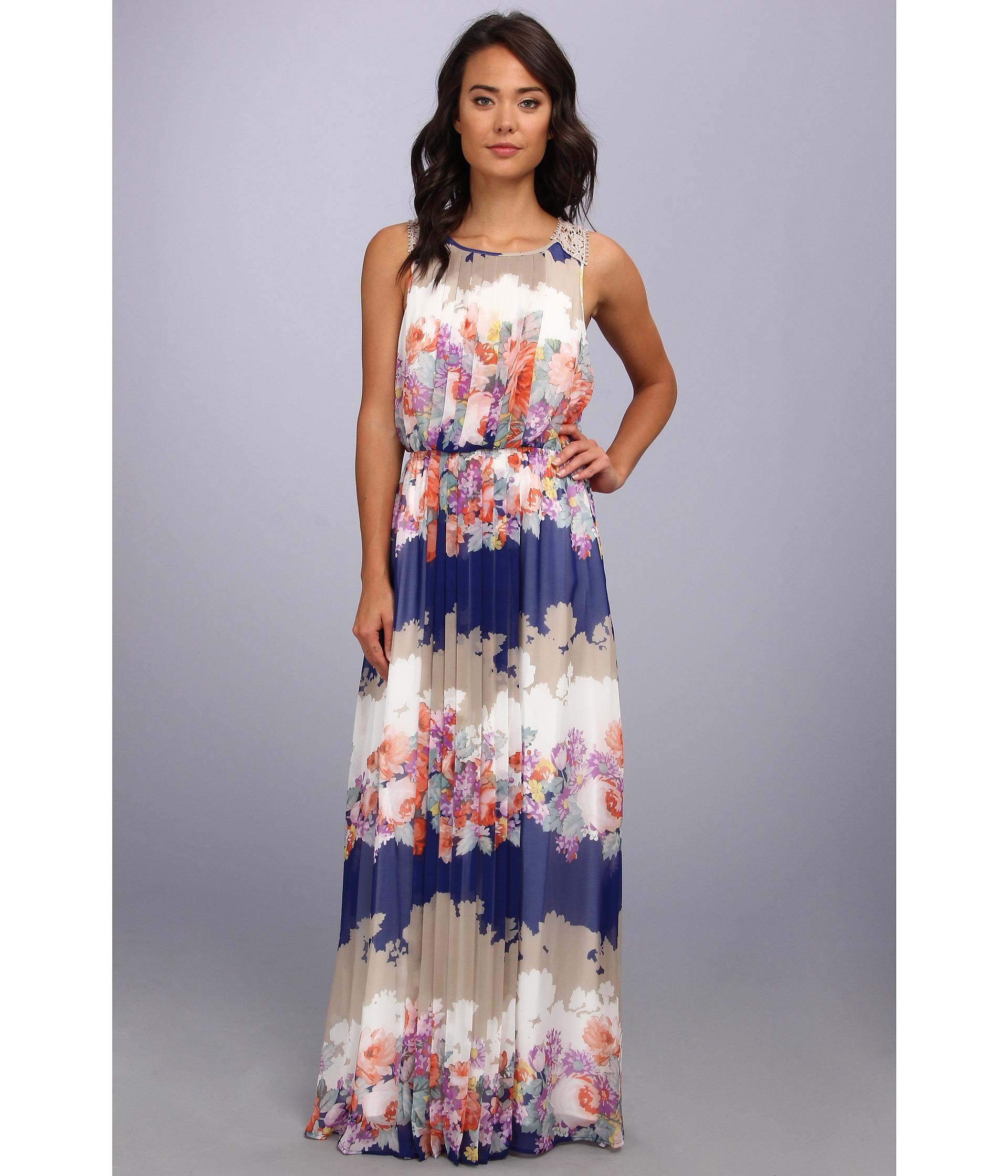 Jessica Simpson Sleeveless Blouson Maxi Dress With Cb Scallop Trim And Skirt Ruffle