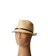 SCALA - Matte Raffia Fedora with Turquoise Trim