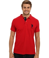 U.S. POLO ASSN. - Slim Fit Solid Polo w/ Contrast Striped Underside of Collar