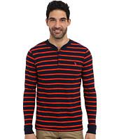 U.S. POLO ASSN. - Slim Fit Long Sleeve Slub Henley w/ Stripes