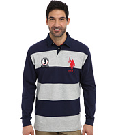U.S. POLO ASSN. - Long Sleeve Stripe and Solid Heavy Weight Jersey Rugby Shirt