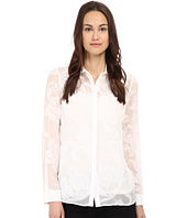 Versace Collection - Floral Print Sheer Blouse