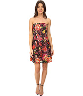 Adrianna Papell - Strapless Floral Print Lace Dress