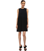 Vera Wang - Crepe de Chine Sleeveless Shift Dress w/ Pleat Detail