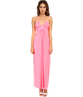 Tbags Los Angeles - Deep-Ve Ruched Halter Maxi w/ Braided Ties