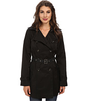 Sam Edelman - Double Breasted Trench w/ Vegan Leather Trim