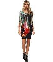 Just Cavalli - 3/4 Sleeve Jersey Dress w/ V-Neck Cutout