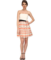 ABS Allen Schwartz - Strapless Cocktail Dress w/ Stripe Skirt