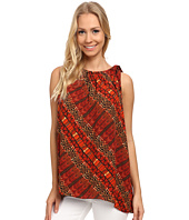 Vince Camuto - Sleeveless Maasai Tribal Blouse w/ Tie Neck