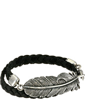 King Baby Studio - Double Wrap Leather Bracelet with Raven Feather