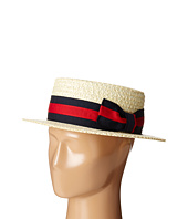 SCALA - Straw Boater with Two-Tone Stripe Grosgrain Ribbon