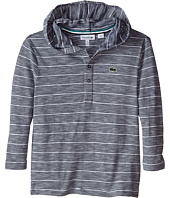 Lacoste Kids - Long Sleeve Striped Henley Hooded Tee Shirt (Toddler/Little Kids/Big Kids)