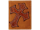 Large Tooled Cross Overlay Bi-Fold Money Clip