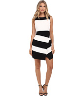 Laundry by Shelli Segal - Textured Crepe Stripe Faux Wrap Sleeveless Dress