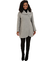 Jessica Simpson - Plus Size Asymmetrical Braided Wool Coat with Shawl Collar