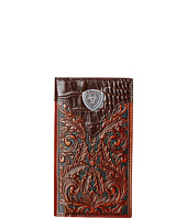 Ariat - Tooled Rodeo Wallet with Gator Tab and Logo Concho