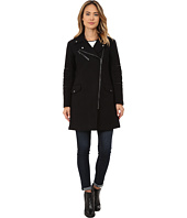 Nicole Miller - Walker Asymmetrical Zip Front Wool Coat with Shouler Detailing