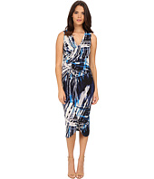Adrianna Papell - Printed V-Neck Sleeveless Rushed Dress