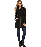 Via Spiga - Boiled Wool Coat w/ Knit Collar and Side Tabs