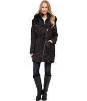 Via Spiga - Hooded Chevron Belted Down Coat w/ Faux Fur