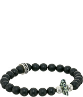 King Baby Studio - 8mm Onyx Bead Bracelet with Natural Top Hat Spotted Turquoise