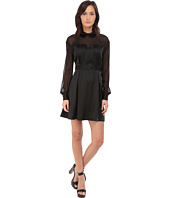 LOVE Moschino - Sheer Paneled Long Sleeve Dress w/ Heart Chest Detail