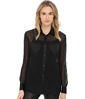 LOVE Moschino - Sheer Long Sleeve Blouse w/ Heart Chest Detail