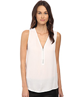 The Kooples - Tank Top with A Zip Neckline in Silk and Jersey