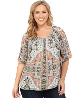 Karen Kane Plus - Plus Size 3/4 Sleeve Hi-Lo Peasant Top