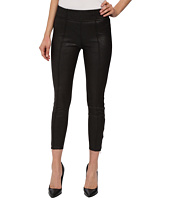 7 For All Mankind - Seamed Leggings w/ Ankle Zips in Black Leather-Like