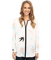Vince Camuto - Long Sleeve Floating Leaves Keyhole Blouse