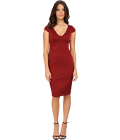 Adrianna Papell - Cap Sleeve Stretch Ottoman Seamed Cocktail Dress w/ Exposed Back Zipper