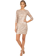 Aidan Mattox - Long Sleeve Embroidered Feather Pattern Cocktail Dress