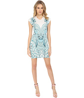 Just Cavalli - Fitted Printed Jersey Short Sleeve Dress Peacock Print