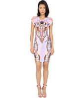 Just Cavalli - Fitted Printed Jersey Short Sleeve Dress Leo Deco Print