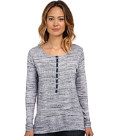Miraclebody Jeans - Varigated Long Sleeve Henley Top w/ Body-Shaping Inner Shell