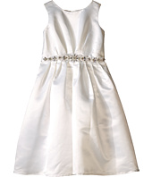 Us Angels - Sleeveless Satin Dress w/ Beaded Pleated Waist & Full Skirt (Little Kids)