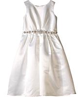 Us Angels - Sleeveless Satin Dress w/ Beaded Pleated Waist & Full Skirt (Little Kids)