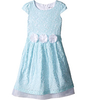 Us Angels - Lace Cap Sleeve w/ Organza Underlay & Flower Trim (Toddler/Little Kids)