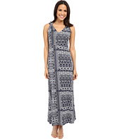 Mod-o-doc - Patchwork Tiles Printed Rayon Spandex Jersey Shoulder Twist Maxi Dress