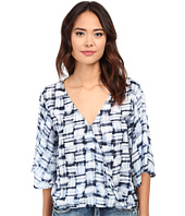 BB Dakota - David Plaid Printed Rayon Twill Crossover Top
