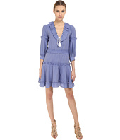 Just Cavalli - Woven Ruffle Front 3/4 Sleeve Dress