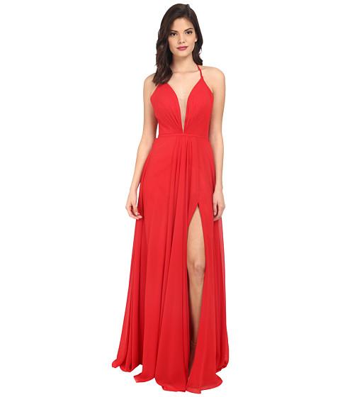 Faviana Chiffon V-Neck Gown w/ Full Skirt 7747
