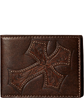 M&F Western - Large Tooled Cross Overlay Bi-Fold Wallet