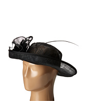San Diego Hat Company - DRS1002 Straw Kettle Brim Dress/Derby Hat with Feathered Floral Detail