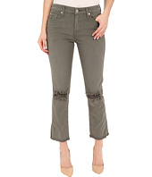 7 For All Mankind - Cropped High Waist Vintage Straight w/ Raw Hem & Knee Holes in Moss